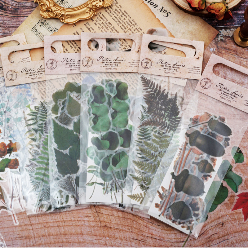 20pcs /Bag Vintage Dry Green Leaf Flowers Plant Illustrations Retro Ferns Decorative DIY Sticker Bookmarks