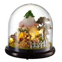 Casas de boneca casa em miniatura diy casa de bonecas com móveis capa transparente de madeira mini casa brinquedos para crianças presente natal