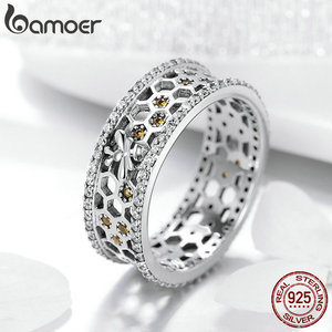 Image 4 - BAMOER מכירה לוהטת 925 סטרלינג כסף מלכת דבורה משושה ברור CZ גדול טבעת לנשים דבורה תכשיטים S925 SCR391