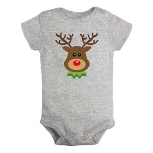 Wesołych świąt słodkie renifer niedźwiedź śmieszne Odie dziewczynka chłopcy ubrania pajacyk dziecięcy z krótkim rękawem kombinezon stroje 100% bawełna obecny