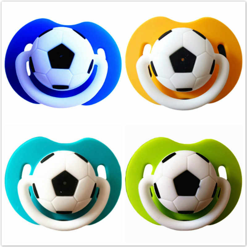 1pcs Football Pacifier Silicone Funny Nipple Dummy Baby Soother Joke Prank Toddler Orthodontic Nipples Teether Baby Christmas