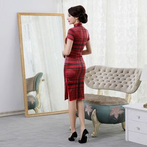 Image 4 - rhyme embroidered new plaid silk cheongsam brief paragraph improvement of mulberry silk qipao dress with short sleeves