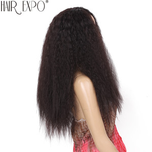 Image 3 - 24 polegada kinky reta peruca dianteira do laço sintético longo perucas de cabelo macio para as mulheres negras 150% densidade resistente ao calor do cabelo expo cidade