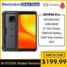 Blackview bv4900 pro ip68 telefone áspero 5.7 polegada 4gb ram 64gb rom octa núcleo impermeável celular 5580mah nfc 4g
