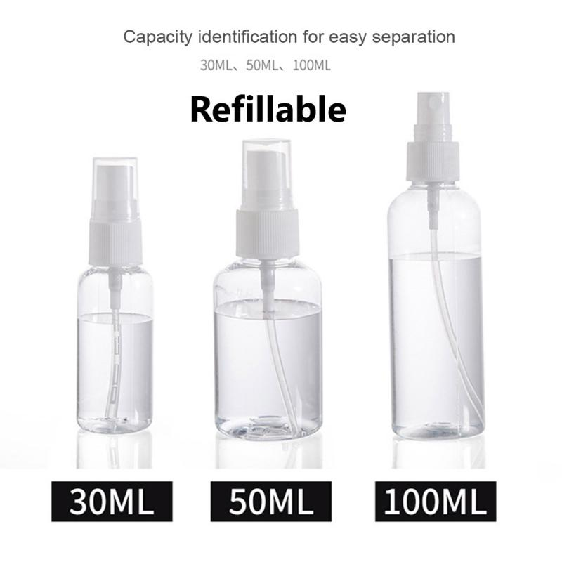 30ml/50ml/100ml Refillable Mini Perfume Spray Bottle Plastic Alcohol Atomizer Portable Travel Cosmetic Container Perfume Bottle