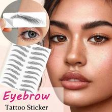 Magia fałszywe brwi 4D włosy-jak tatuaż na brwi naklejki wodoodporny trwały makijaż na bazie wody Eye Brow naklejki kosmetyki tanie tanio MANZILIN 21*14 8cm E09-16 Tymczasowy tatuaż Easy to Wear Long-lasting Natural Eyebrow Enhancer