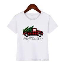 Детская Новогодняя мультяшная футболка в клетку с принтом рождественской
