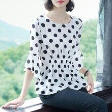 Mulheres Estilo Chiffon Blusas Camisas Senhora Metade do Alargamento Da Luva de Bolinhas Impresso Blusas Tops