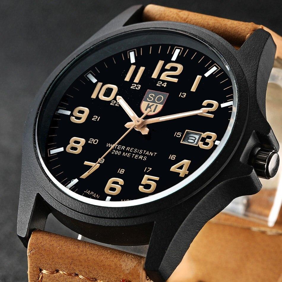 Brand Sport Military Watches Fashion Casual Quartz Watch Leather Men 2019 New SOKI Luxury Wristwatch Watch Men часы мужские