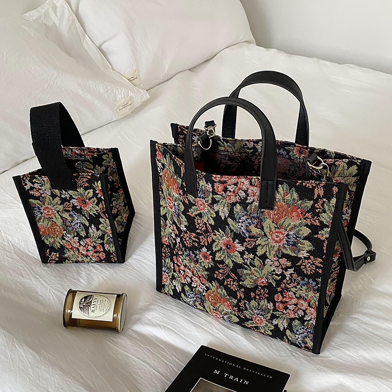 Vintage Women Floral Shoulder Bag Waterproof Handbag Mini Square Canvas Tote Korean Style Female Flower Crossbody Bags 2020 New
