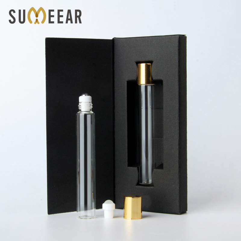 50 Pieces/Lot Gift Perfume Bottles Package Box With Roll On Essential Oil Bottle Empty Steel Ball Bottle Cosmetic For Travel