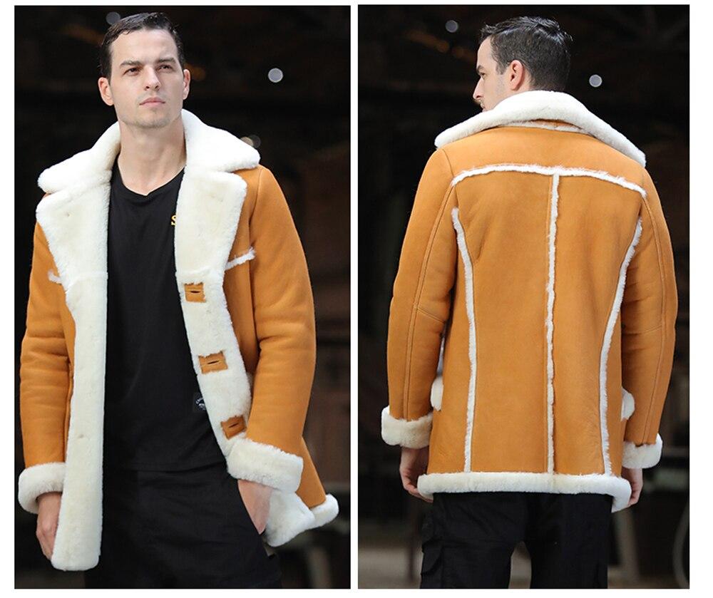 H346f635dbfa64e20a9efb0e5010b2761Q Men Luxury Fur Shearling Coat Yellow Soft Thicken Fur Coat Winter Male Formal Business Fur Sheepskin Jackets