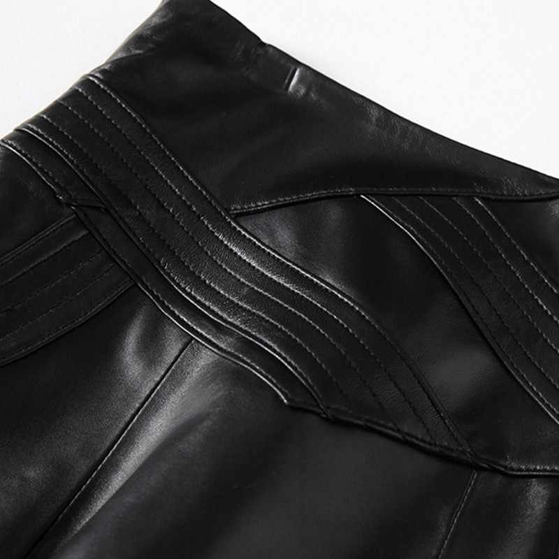 Saia de couro real senhoras harajuku trabalho a linha saias de couro genuíno de pele de carneiro de luxo das mulheres saias tamanho grande 3xl feminino coreano