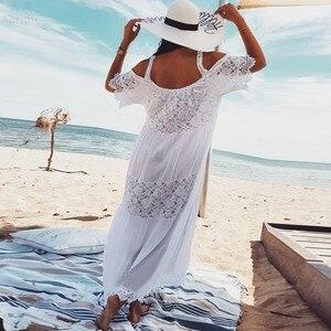 Image 3 - 2020 כותנה טלאי תחרה חוף שמלה ארוכה חוף כיסוי למעלה Vestido בגד ים כיסוי ups plage סרונג חלוק דה Plage טוניקת # Q689