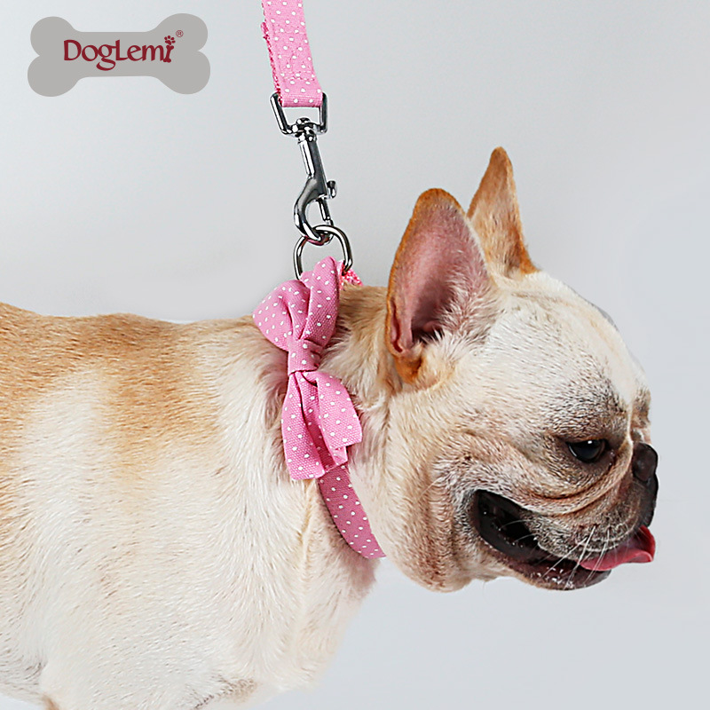 Pet Nursing Neck Ring Sling Dog Cat Dotted Nylon Collar Hand Holding Rope Teddy Dog Rope Set