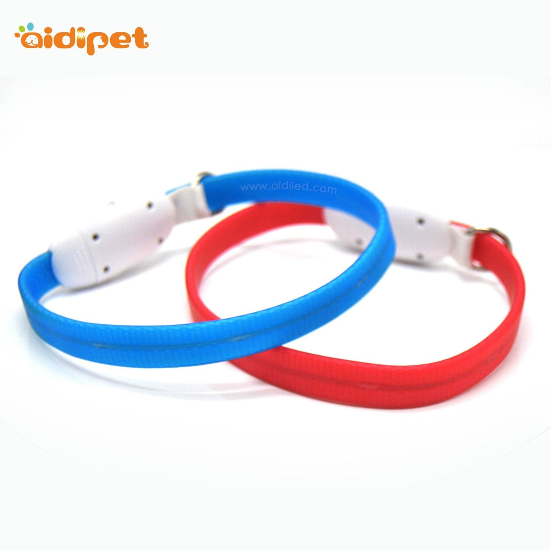 Pet Supplies Fashion Waterproof PVC Bag Tube Glowing Dog Collar USB Charging LED Dog Collar Pet Collar