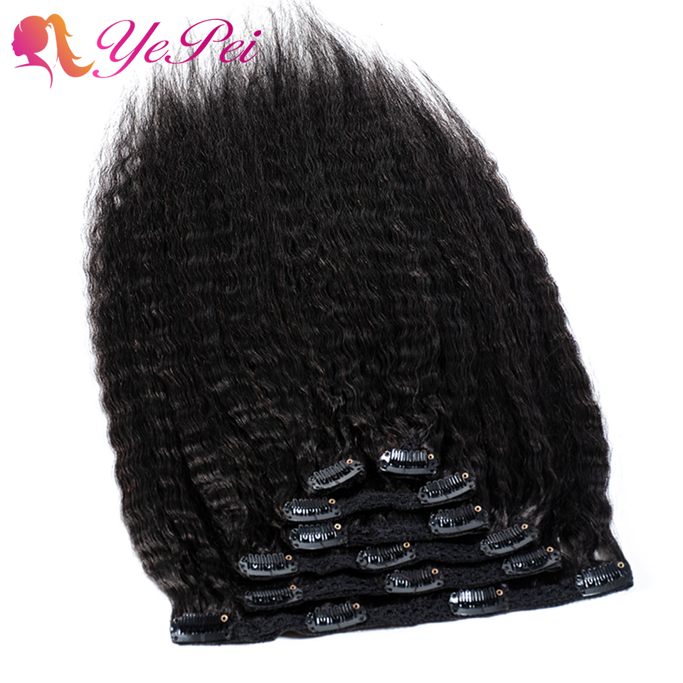 Kinky Straight Clip In Human Hair Extensions Mogolian Remy Hair 7Pcs/120g For A Head Coarse Yaki 100% Human Hair Lulalatoo