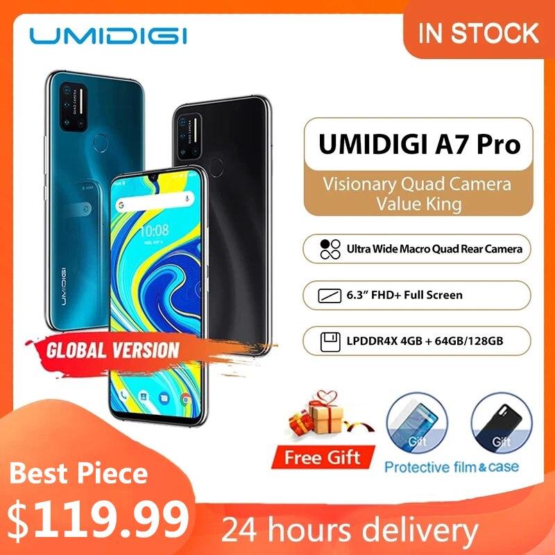 Оригинальный смартфон UMIDIGI A7 Pro, android 10, неопределенный celular, 4 Гб 64 ГБ ROM, LPDDR4X, Восьмиядерный, глобальная версия мобильных телефонов