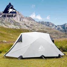 Hewolf PU 5000 Waterproof 2 Person Tents Outdoor Camping Double Door Layer Four Seasons Portable Hiking Tourist