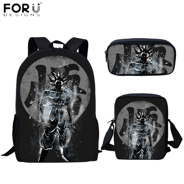 FORUDESIGNS Student Backpack Ultra Art Dragon Ball Z 3D Printing Goku Design Boys Girls School Bags Pen Book Daypack Mochilas 2