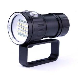 Image 2 - Torcia subacquea a LED subacquea 100m torcia tattica impermeabile evidenzia 20000lumen 6x XHP90 lampada perlina fotografia luce Video