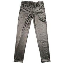 カジュアルレザーパンツ薄型マット光フェイクレザータイト脚パンツカジュアルレザーパンツステージ男性鉛筆のズボン