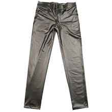 Casual Leather Pants Thin Matte Light Faux Leather Pants Stretch Tight Leg Pants Casual Leather Pants Stage Male Pencil Trousers