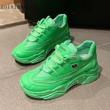 Old shoes female 2019 autumn new thick bottom sponge bottom breathable mesh fluorescent green casual shoes(China)