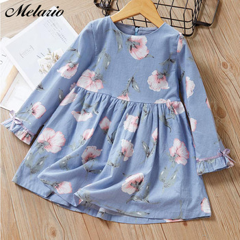 Melario Girls Dresses Fashion Kids Girl Dress Printing Long Sleeve Princess Dress Casual Kids Dresses Floral Children's Clothing 1