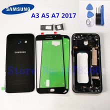 Samsung Galaxy A3 A5 A7 2017 A320 A520 A720 Volledige Behuizing Case Glas Back Cover + Front Screen Glas Lens + Midden Frame A520F