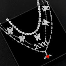Juste se sentir multicouche coeur papillon cristal collier ras du cou femmes couleur argent 2000 année de naissance numéro pendentif collier bijoux