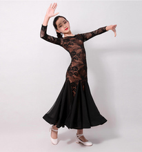 Standard Ballroom Dance Dresses Children New High Quality Red Lace Waltz Dancing Skirt Girls Competition Dress