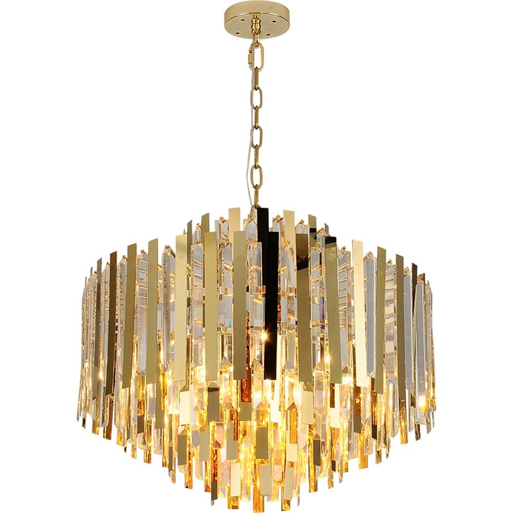 Золотая современная люстра для гостиной  длинная кристальная палочка  лампа для столовой  светодиодный подвесной светильник