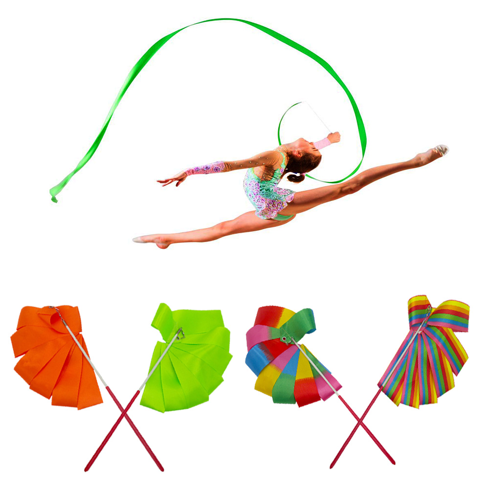 Ribbons Stick Ballet-Streamer Twirling-Rod Dance Rhythmic-Art Training Gym Colorful