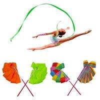 2 M/4 M Renkli Spor Salonu Dans Şerit Ritmik Sanat Jimnastik Bale Flama Twirling Çubuk Sopa Eğitim Için S