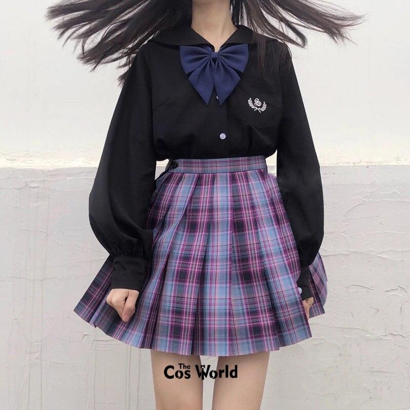 [Allstar Girls] Girl's Summer High Waist Pleated Skirts Plaid Skirts Women Dress For JK School Uniform Students Cloths