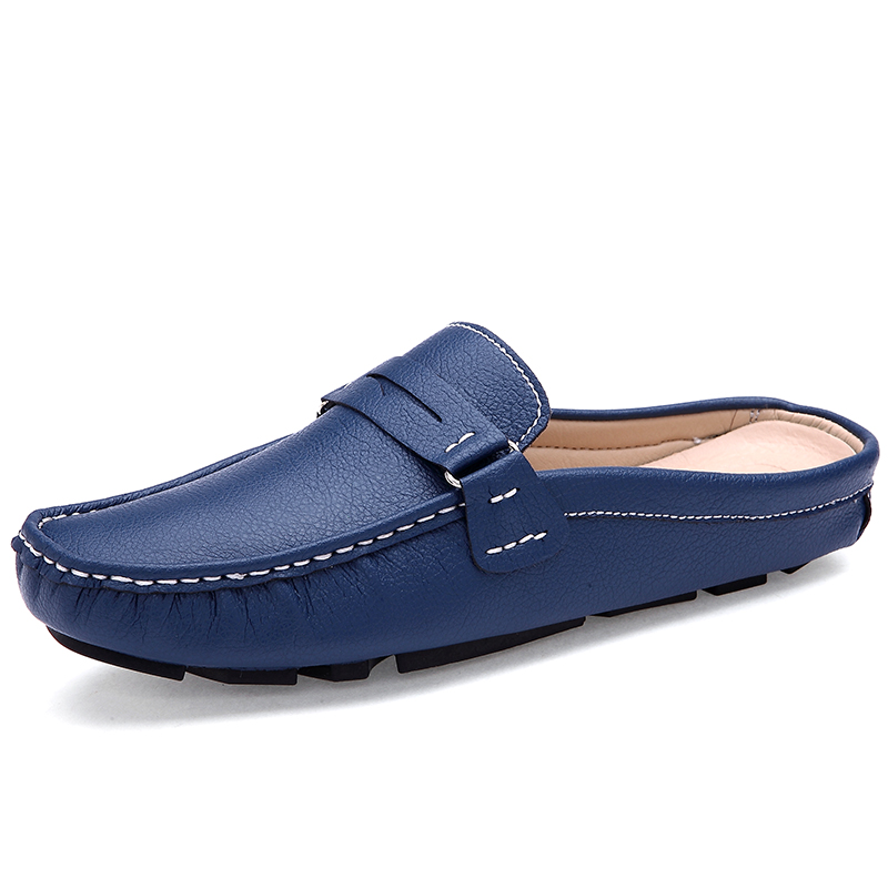 Young Casual Loafers Shoes Blue White Lazy Shoes Male Weight Light Half Shoes Comfortable Anti-Slip Men Walking Driver Shoes