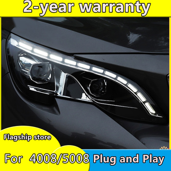 Car Styling for Peugeot 4008 5008 Headlights 2016 Peugeot ALL LED Headlight DRL Lens Double Beam