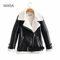 Giacche in ecopelle finta Wixra cappotti caldi spessi invernali da donna con cappotti Casual allacciati autunnali in lana di agnello per donna
