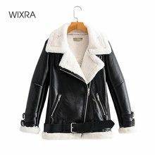 Wixra Gefälschte Faux Leder Jacken Frauen Winter Dicke Warme Mäntel Mit Lamm Wolle Herbst Lace-up Casual Mäntel Für weibliche