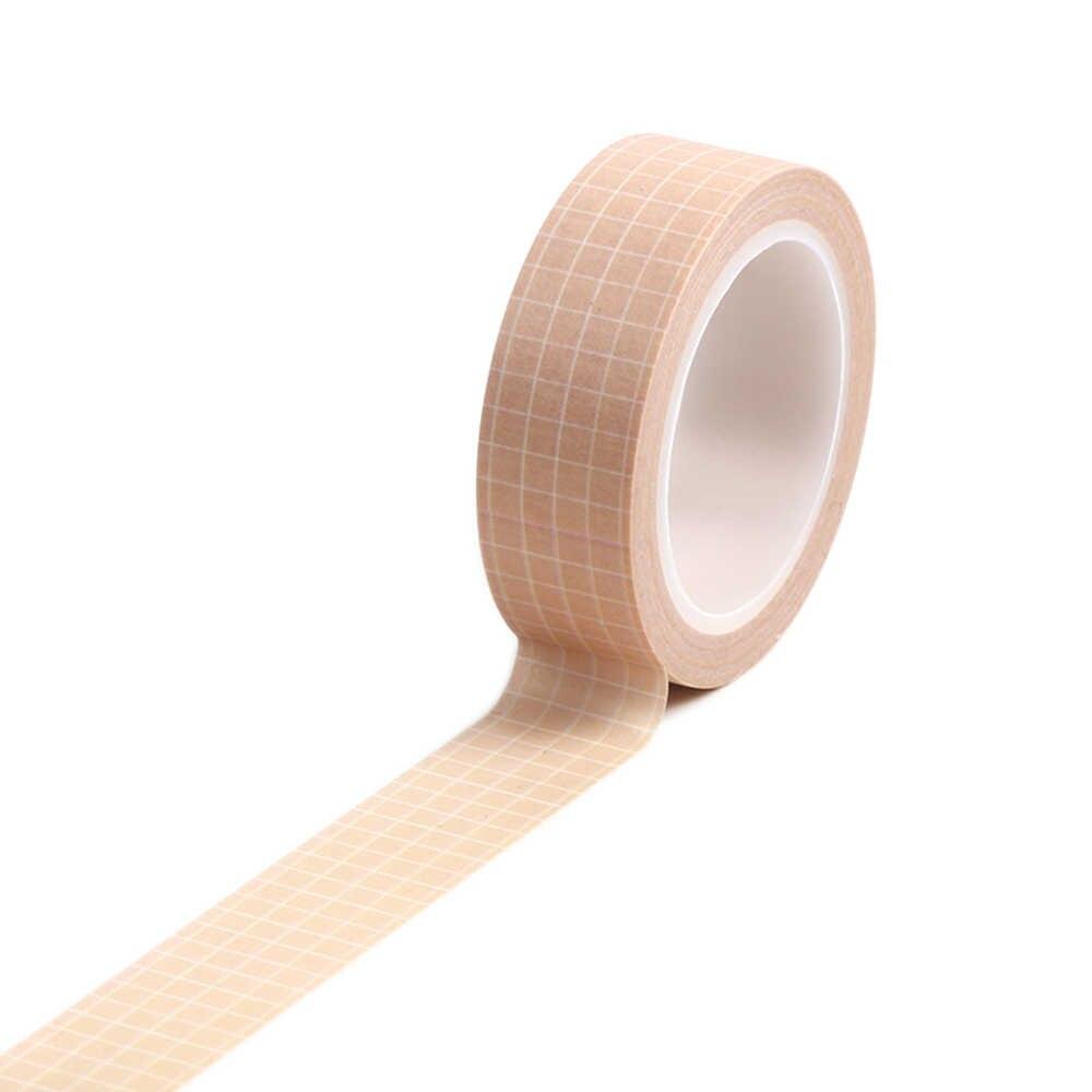 1 pc 15 ミリメートル × 10 メートルのグリッドプリント柄ピュアカラー和紙テープ Sticky 粘着装飾マスキング紙テープ DIY スクラップブッキングステッカー