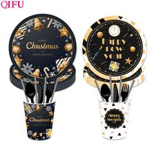 QIFU Merry Christmas Tableware Ornaments Table Decorations For Home 2019 Pendant Natal Happy New Year 2020