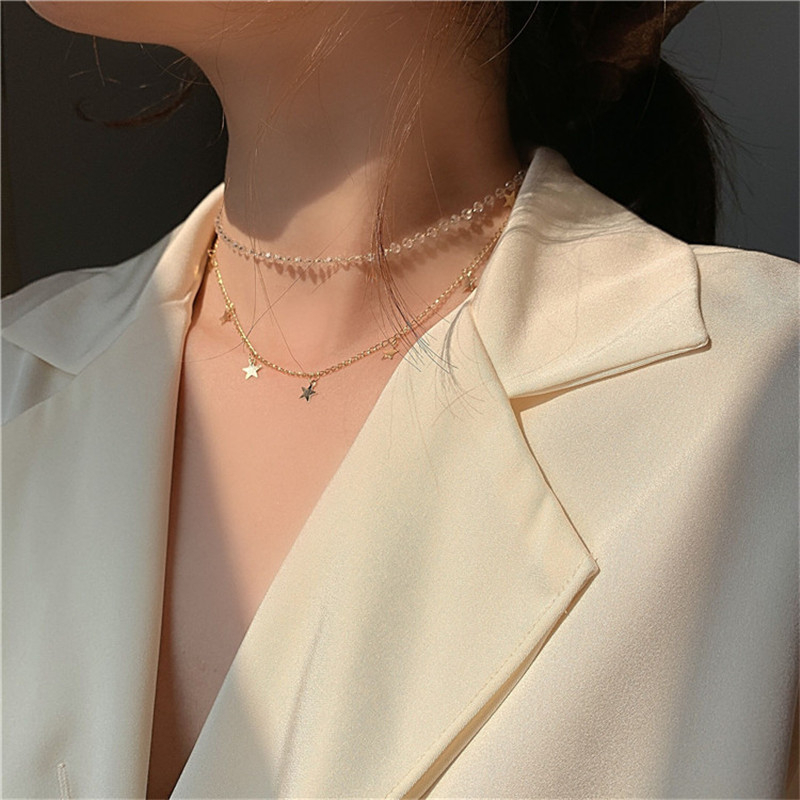 Kpop Double Layer Chain Crystal Choker Gold Stars Pendant Necklace For Mom Women Egirl Aesthetic Jewelry Collar Mothers Day Gift