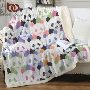 BeddingOutlet Colourful Panda Bed Blanket Kids Bedding Cartoon Plush Bedspread Cute Crocodile Sherpa Blanket Wild Life Cobertor