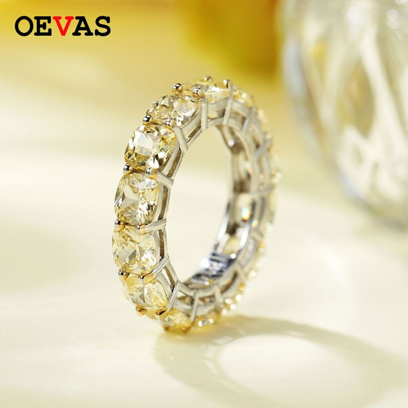 OEVAS 100% 925 Sterling Silver Sparkling High Carbon Diamond 5*5MM Wedding Ring For Women Party Fine Jewely Anniversary Gift