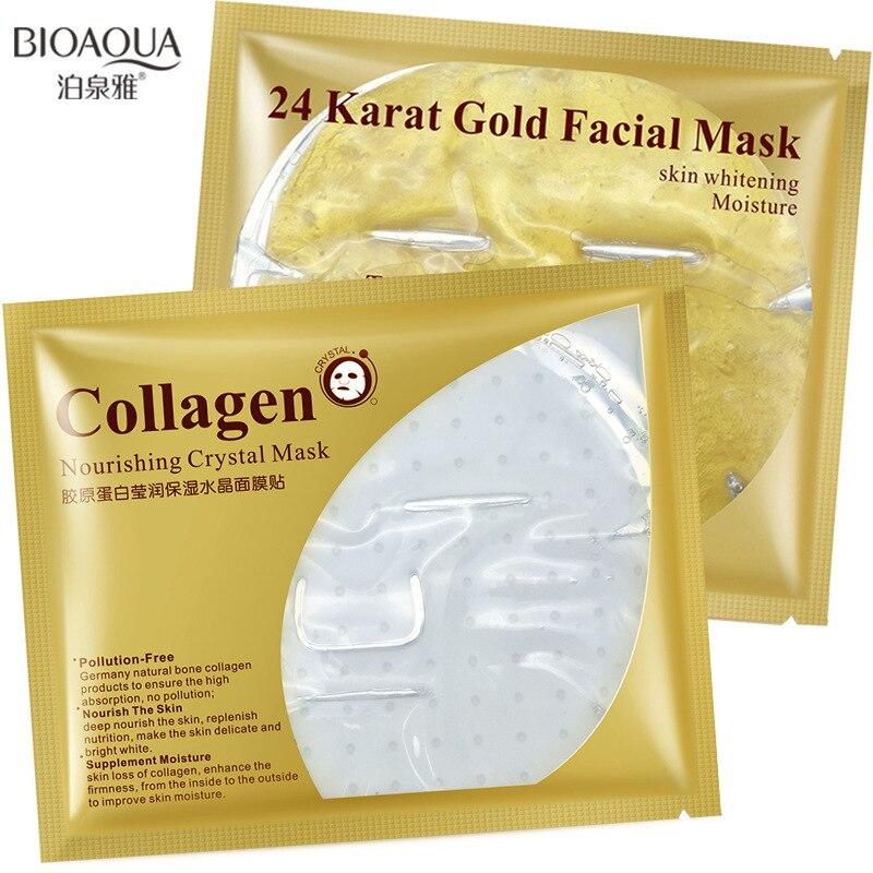 Bioaqua 24 Karat Gold Protein Collagen Face Masks Nourishing Whitening Anti Aging Wrinkle Shrink Pore Skin Care Facial Mask