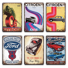 Citroen Metalen Poster Emaille Bord Vintage Garage Plaque Home Decor Corvette Mustang Ford Decoratieve Metalen Plaat Teken Wanddecoratie(China)