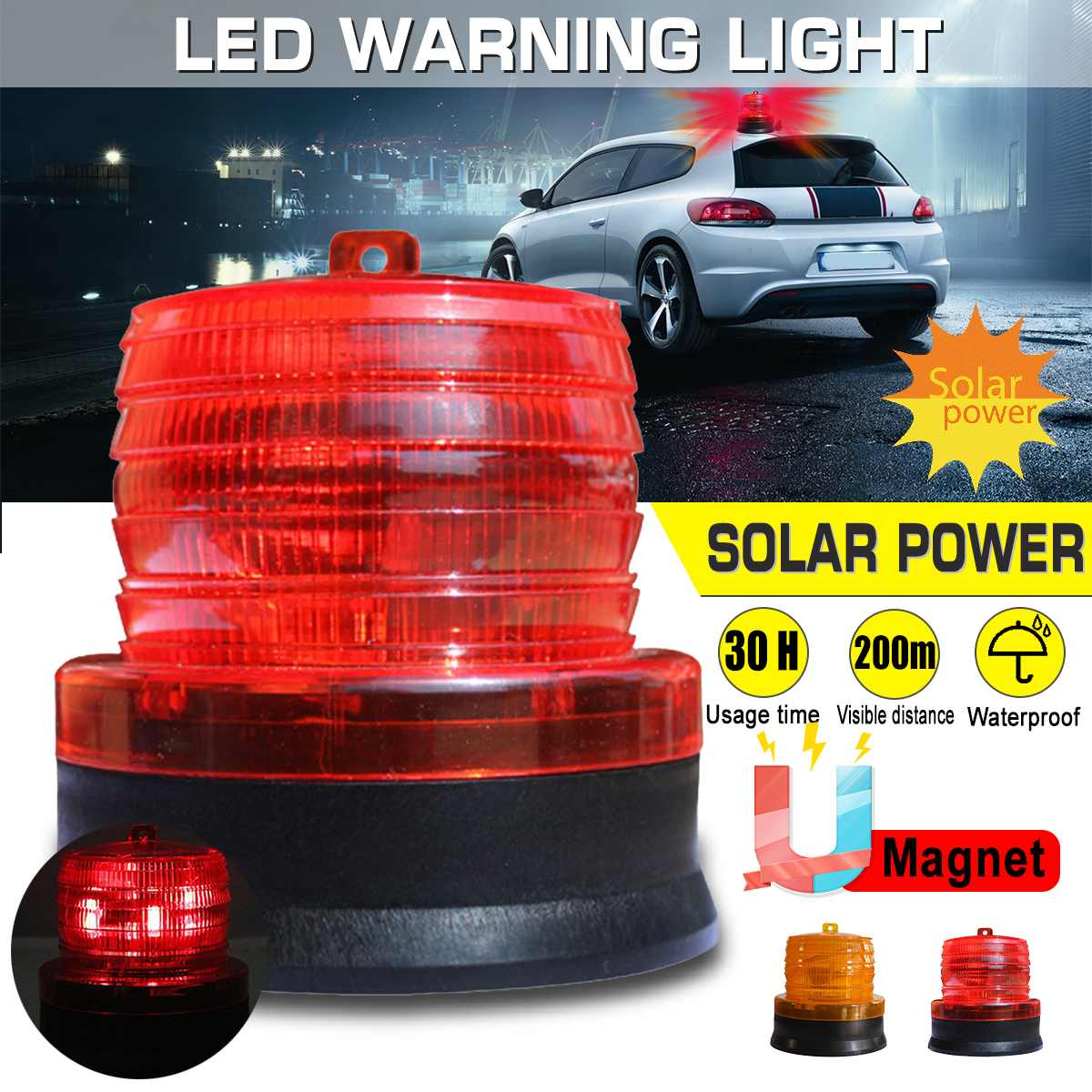 Waterproof Solar LED Strobe Warning Light Strobe Flashing Breakdown Emergency Light Car Magnetic Beacon Lamp Indicator Light