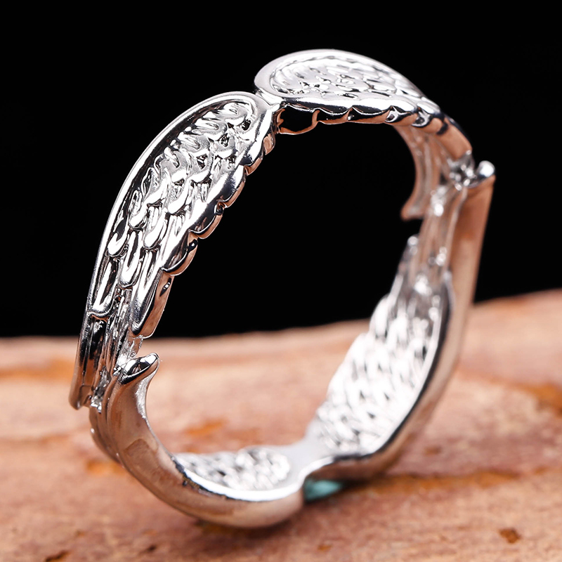 Exclusive Silver Plated Angel Wings Ring For Men Women Gothic Steampunk Party Anniversary Ring Adult Unisex Jewelry Gift H4T739