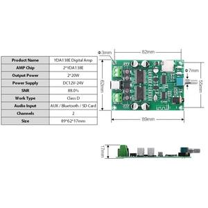 Image 4 - 2*20W YDA138E Bluetooth 5.0 Stereo Digital Amplifier Board Dual Channel Class D Amp